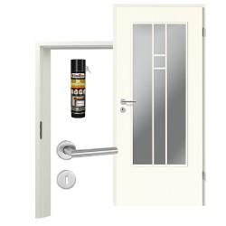 Innentür-Set Klassik Weiß A 223 Typ LA-4 Port Sprosse Zimmertür mit Zarge und Drücker Westag & Getalit