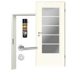 Innentür-Set Klassik Weiß A 223 Typ LA-5 Port Sprosse Zimmertür mit Zarge und Drücker Westag & Getalit
