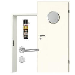Innentür-Set Portalit LA-KR 350 Edelstahl A223 Zimmertür mit Zarge und Drücker Westag & Getalit