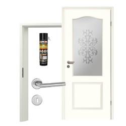 Innentür-Set Stiltuer Typ 4002 B LA SandstrahlFlorale Zimmertür mit Zarge und Drücker Westag & Getalit