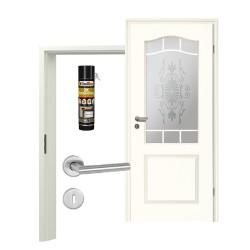 Innentür-Set Stiltuer Typ 4002 B LA Spr9 SandstrahlRomantica Zimmertür mit Zarge und Drücker Westag & Getalit