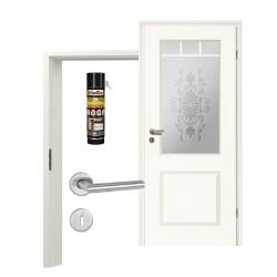 Innentür-Set Stiltuer Typ 4002 LA Spr10 SandstrahlRomantica Zimmertür mit Zarge und Drücker Westag & Getalit